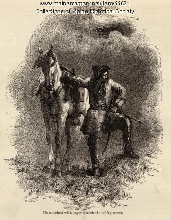 Illustration and poem, Paul Revere's Ride, c. 1880