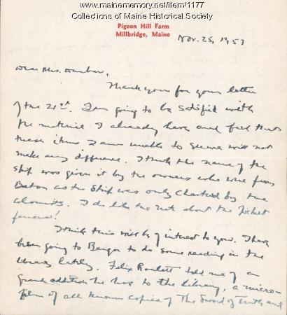 Letter concerning Harbinger of Peace, 1953