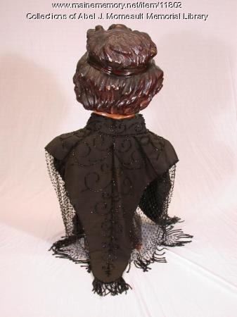 Lady's black evening dress cape, 1897