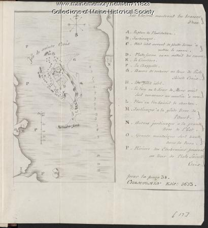 Champlain map copy, St. Croix Island, ca. 1799