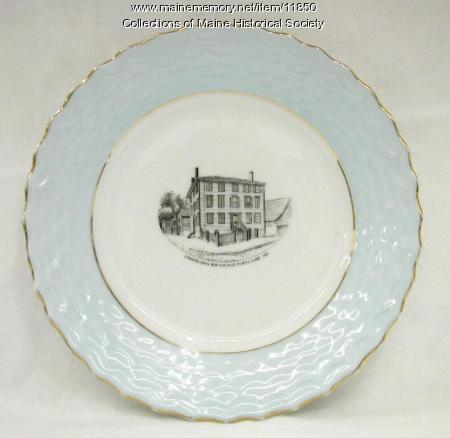 Longfellow's Birthplace commemorative plate, ca. 1900