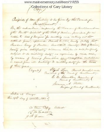 Theodore Cary non-liability certificate, Houlton, 1863