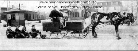 Skowhegan Railroad Station, Young women,Toboggan and Horse Drawn Sled