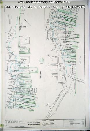 Location of wharves in Portland Harbor, 2001