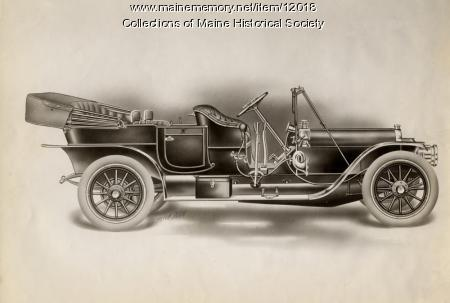 Drawing of a Knox automobile, ca. 1909