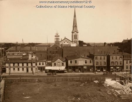 Federal Street, looking toward Congress Street, Portland, ca. 1882