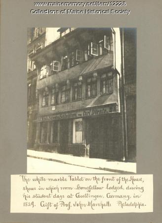 Henry W. Longfellow's Student Lodgings in Goettingen, Germany, 1908