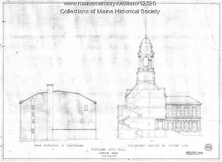 New Portland City Hall transverse section drawing, 1909