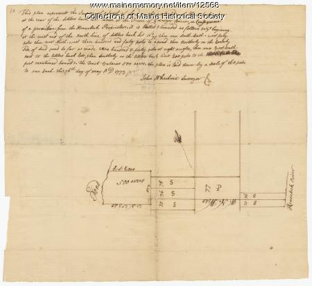 Plan of land for Ebenezer Bacon, Sidney, 1773