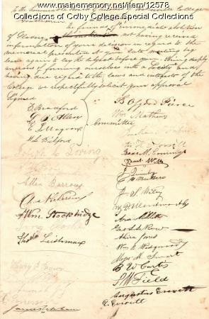 1833 Anti-Slavery Society of Waterville College petition