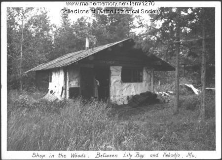 Shop in the woods, between Lily Bay and Kokadjo, 1934