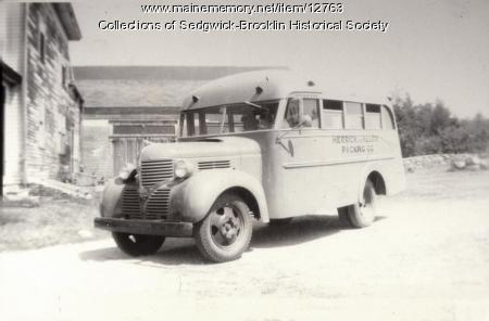 Fish Cannery Worker Transportation Bus, Brooklin, 1948