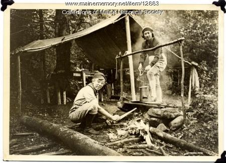 At the campsite, 1935