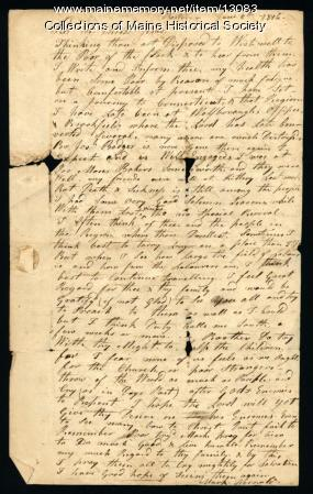 Mark Fernald letter from Boston to Ephraim Stinchfield, 1816