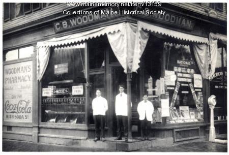 C.B. Woodman Pharmacy, Westbrook, ca. 1900