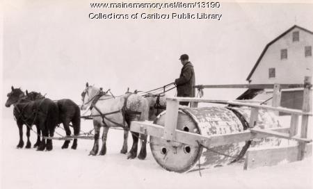 Snow roller, Caribou, ca. 1930