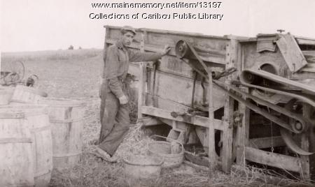 Threshing grain, Caribou, ca. 1930