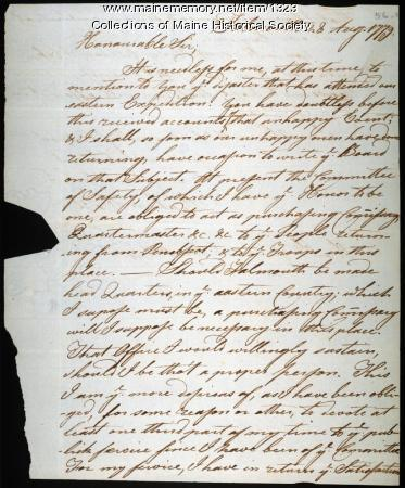 Stephen Hall on Penobscot Expedition, 1779