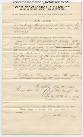 Act concerning females army nurses, 1861