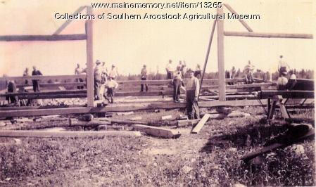 Barn raising, Littleton, ca. 1900