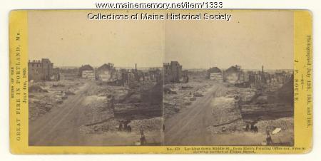 Fire ruins, Middle Street, Portland, 1866