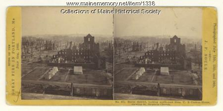 St. Stephens Church after Great Fire of Portland, 1866,