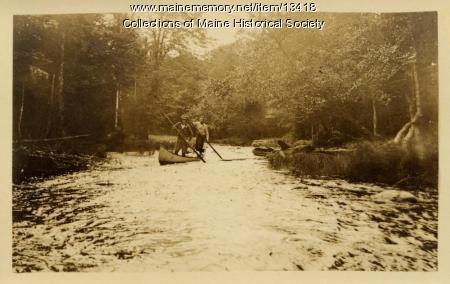 Poling canoe, Mud Pond Stream, 1911