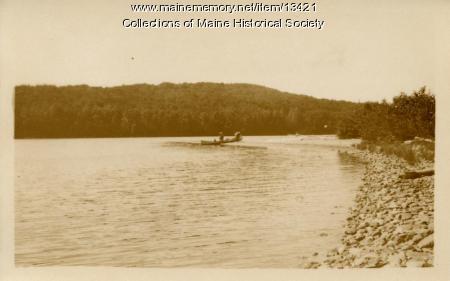 Canoe on sandbar, Eagle Lake, 1911