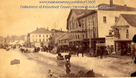 Market Square in winter, Houlton, ca. 1885
