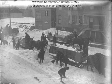Teams hauling snow, Portland, 1899