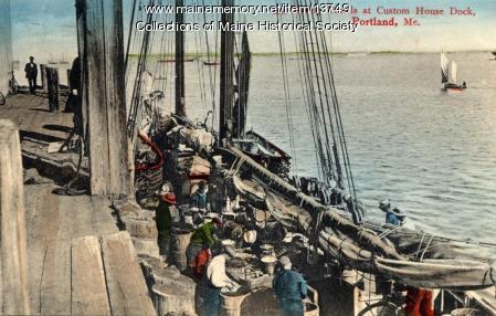 Fishermen baiting the trawl lines, Portland, ca. 1906