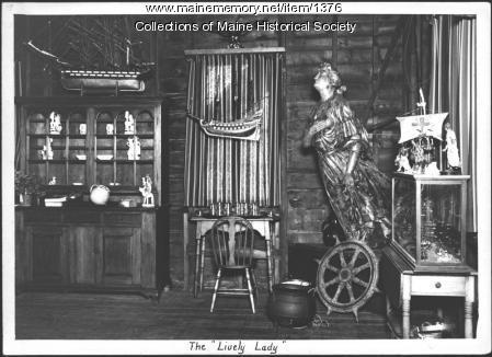 Lively Lady figurehead, Booth Tarkington home, 1938