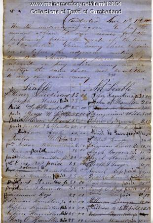 Cumberland Civil War bounties, 1864
