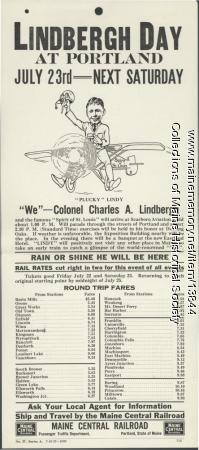 Lindbergh Day railroad promotion, 1927