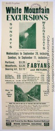 White Mountain excursions by train, 1927