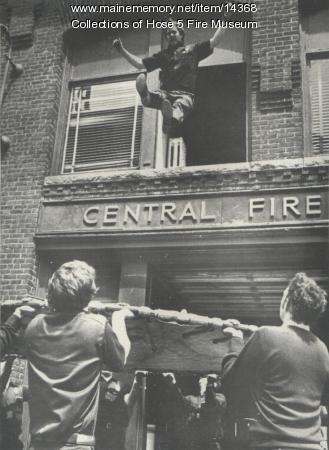 Testing fire net, Bangor, ca. 1973