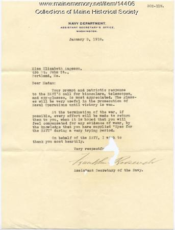 Letter of appreciation to Elizabeth Aageson, 1918