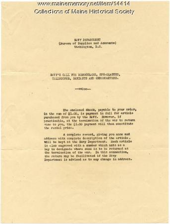 U.S. Navy letter concerning donation of items, ca. 1918