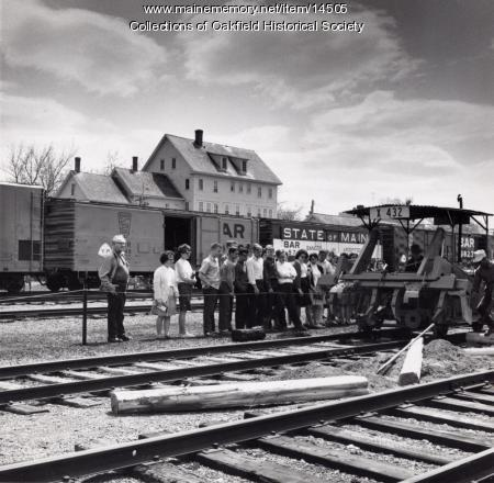 Students, Bangor and Aroostook Railroad yard, Houlton, ca. 1960