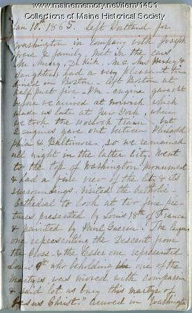 Rebecca Usher diary, 1865