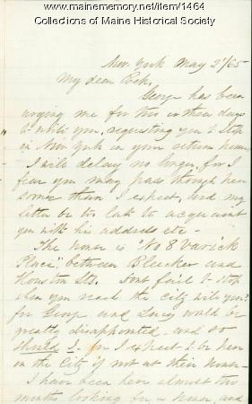 Letter from Elizabeth Chase to Rebecca Usher, New York, 1865