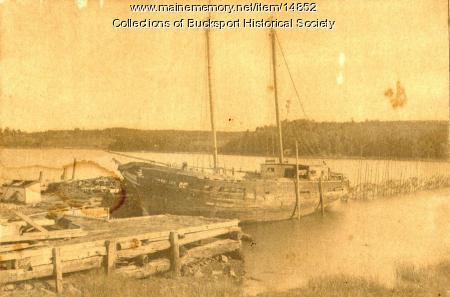 Old ship in harbor, Bucksport, ca. 1870