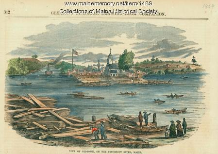 View of Old Town, on the Penobscot River, ca. 1854