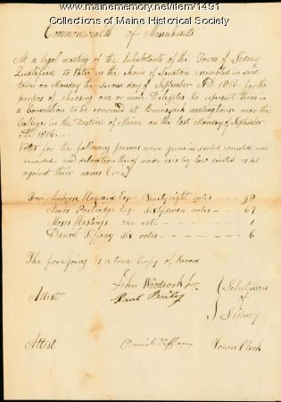 Town of Sidney separation election record, 1816