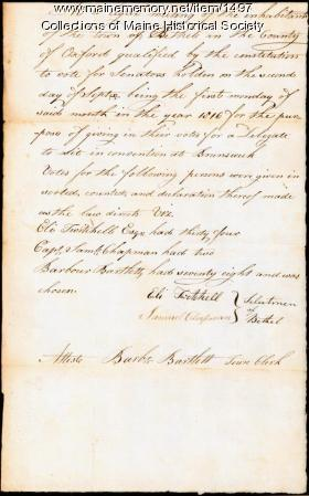 Delegate election results, Bethel, 1816