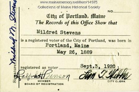 Voter registration card, Portland, 1920