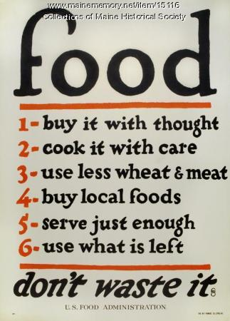 Food--don't waste it, World War I poster, ca. 1917