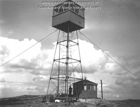 Fire tower, Schoodic Mountain, Franklin, ca. 1920