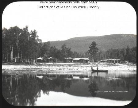 Gerards Camps at Big Spencer Pond, ca. 1900