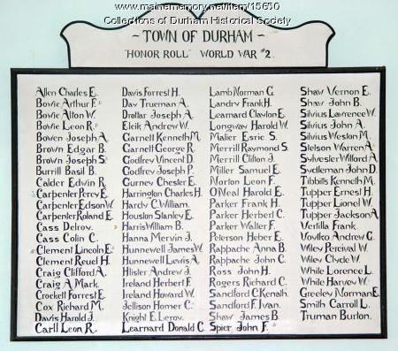 Durham's World War II Honor Roll, ca. 1946